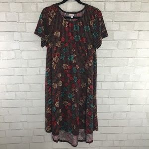 LuLaRoe Carly Dress, Maroon & Multi Colored Floral